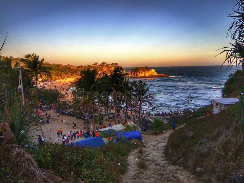 Szczęśliwa Krakal plaża obrazy stock