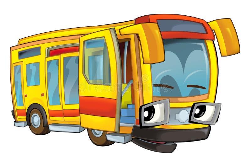Szczęśliwa kreskówka karykatura - autobus - ilustracji