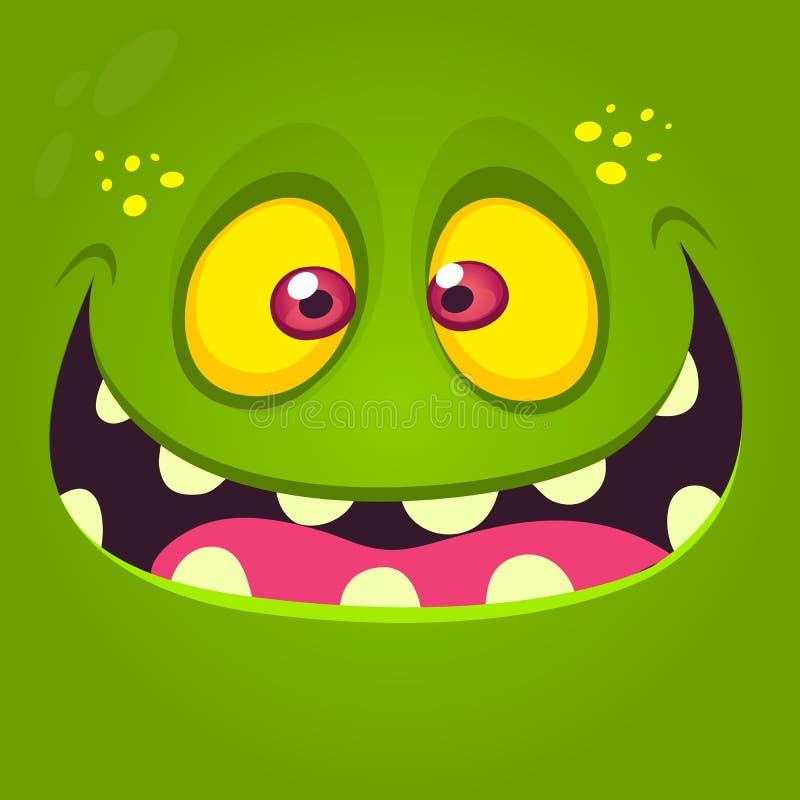 Szczęśliwa kreskówka potwora twarz Wektorowa Halloweenowa ilustracja zieleń excited potwora lub żywego trupu ilustracji