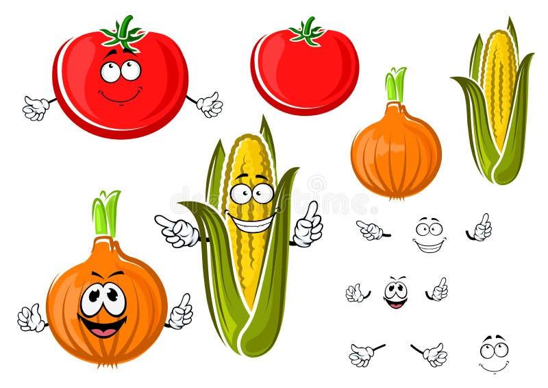 Szczęśliwa kreskówki cebula, pomidor i kukurudza, ilustracja wektor