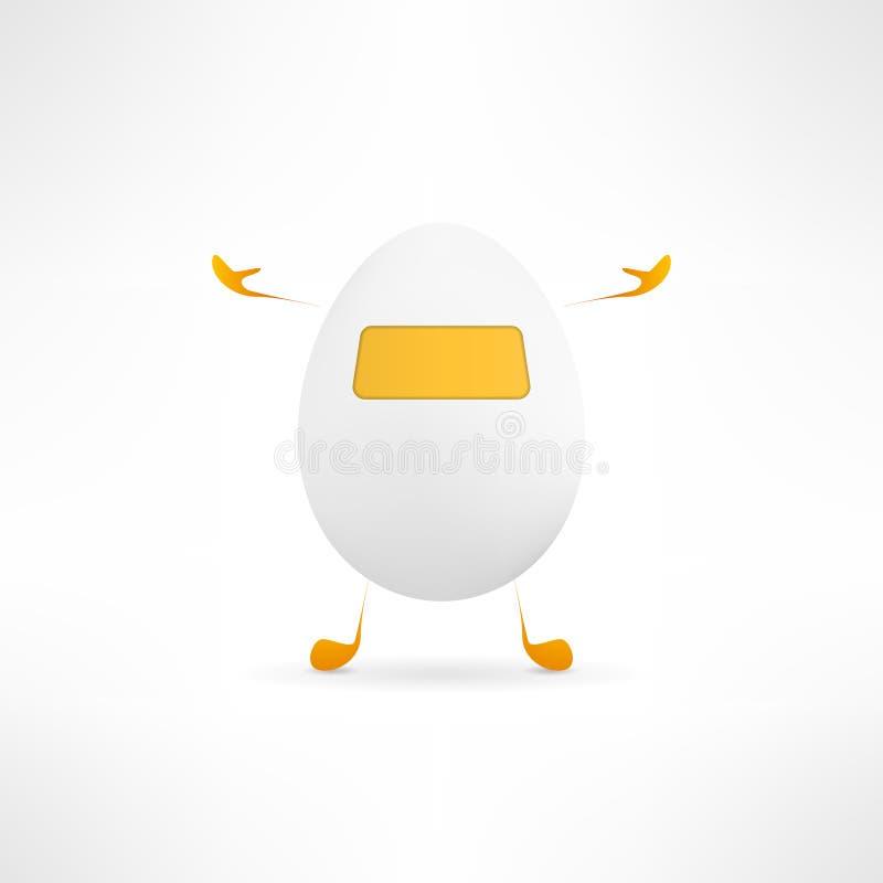 Szczęśliwa kreskówki jajka istota Śliczny prosty robot z ilustracji