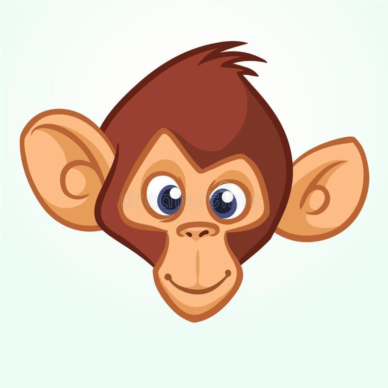 Szczęśliwa kreskówki małpy głowa Wektorowa ikona szympans Projekt dla majcheru, ikony lub emblemata, royalty ilustracja