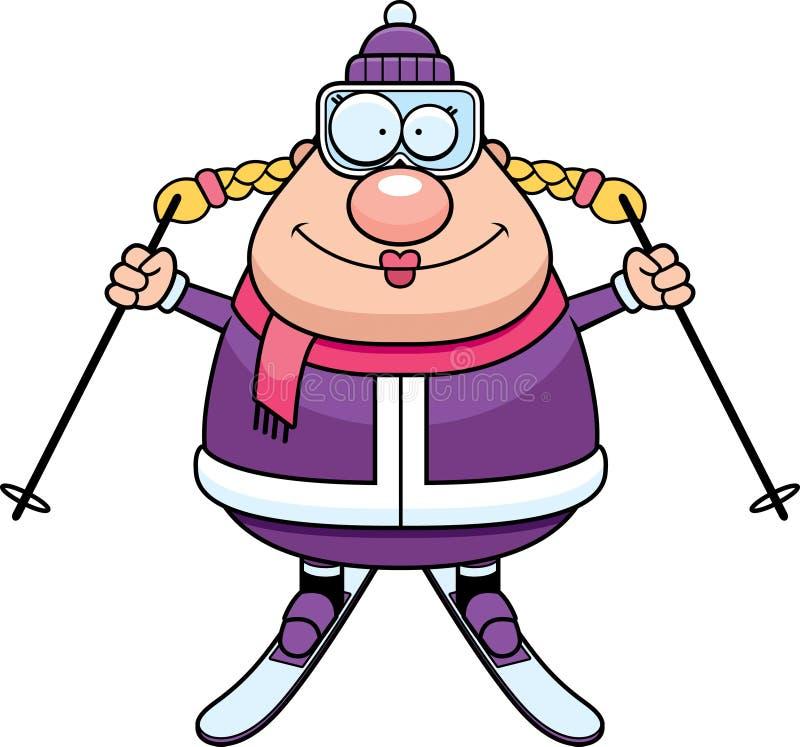 Szczęśliwa kreskówki narciarka ilustracja wektor