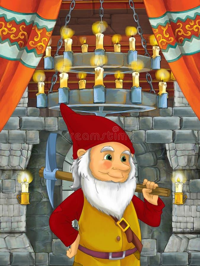Szczęśliwa kreskówki scena z karłowatym książe w grodowym pokoju ilustracja wektor