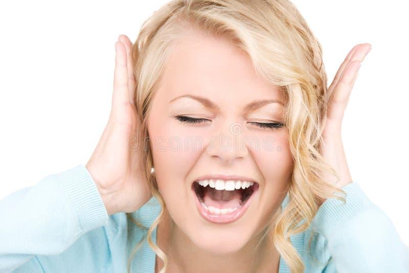 Szczęśliwa krzycząca kobieta zdjęcia stock