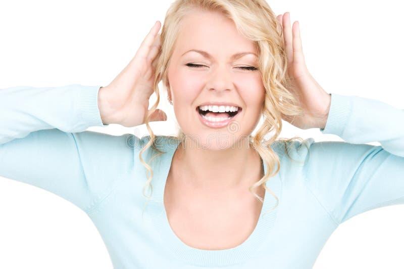 szczęśliwa krzycząca kobieta zdjęcie stock