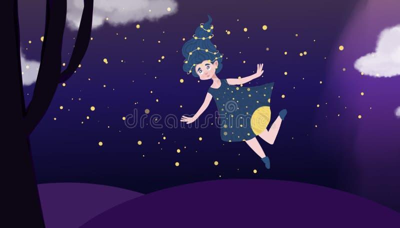 Szczęśliwa latanie dziewczyna w magicznym świacie royalty ilustracja