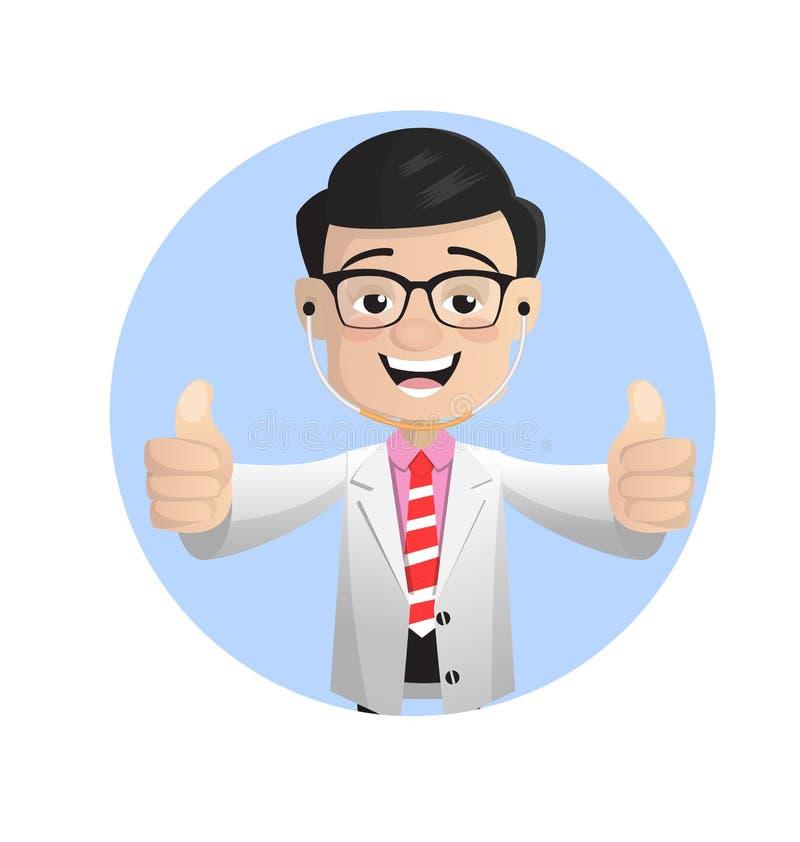Szczęśliwa lekarka Pokazuje kciuki Podnosi wektor ilustracji