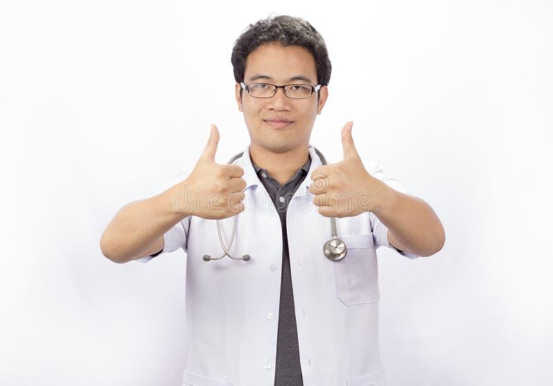 Szczęśliwa lekarka przy lekarkami biurowymi obraz royalty free