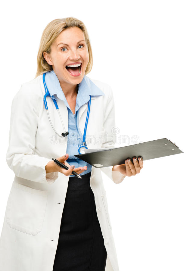 Szczęśliwa lekarz medycyny kobieta odizolowywająca na białym tle zdjęcia stock