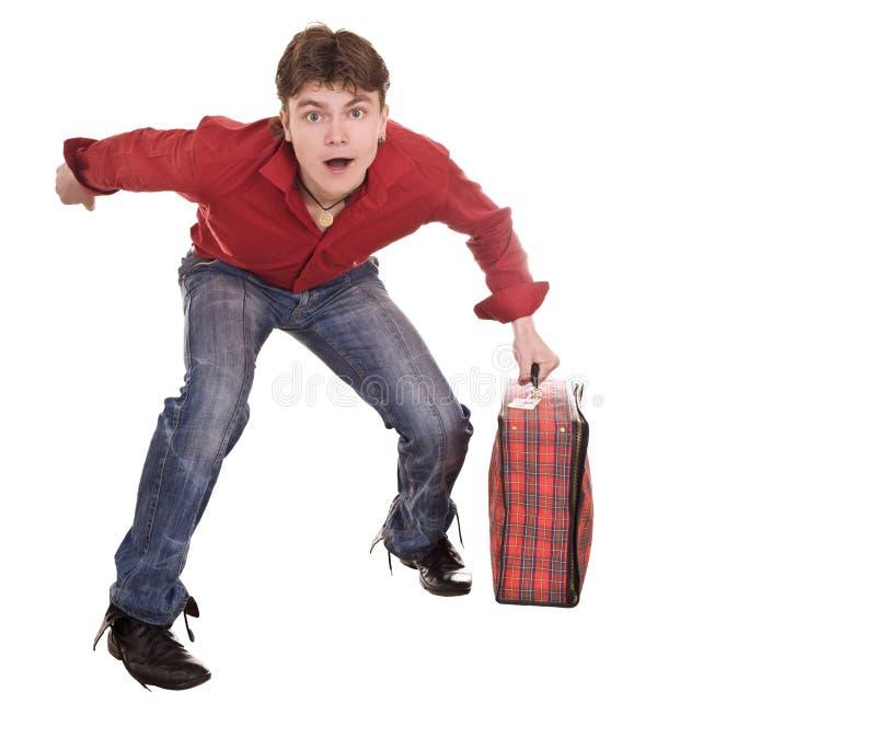 szczęśliwa mężczyzna walizki podróż zdjęcie stock
