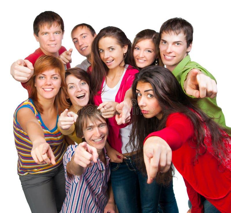 Szczęśliwa młoda grupa ludzi obraz royalty free