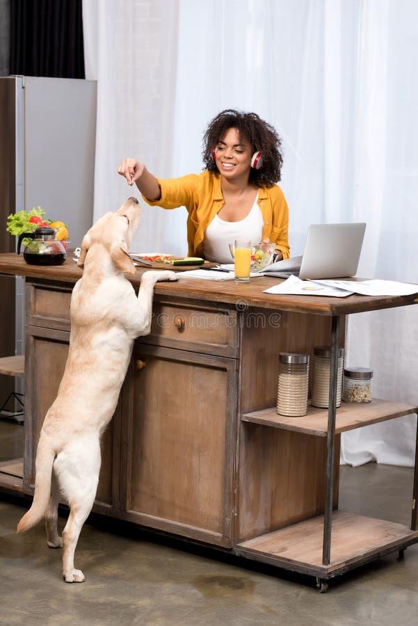 szczęśliwa młoda kobieta pracuje w domu na kuchni obrazy royalty free