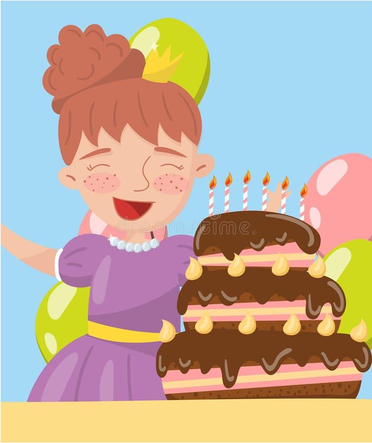 Szczęśliwa młoda kobieta trzyma urodzinowego torta fotografię, najlepszy momenty na obrazkach, portret członka rodziny wektoru il royalty ilustracja