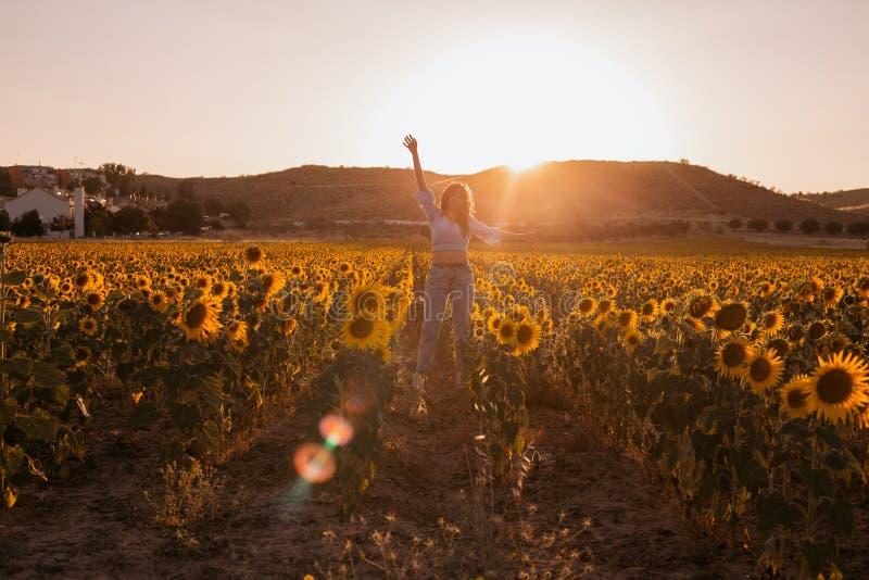 Szczęśliwa młoda kobieta z rękami otwierał w słonecznika polu przy zmierzchem obrazy royalty free