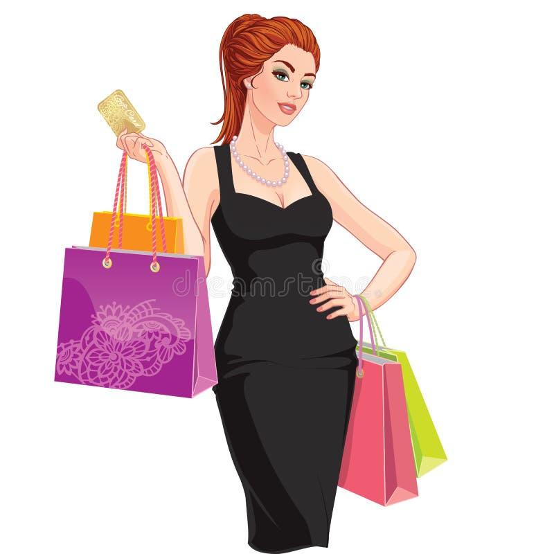 Szczęśliwa młoda kobieta z torba na zakupy i rabat kartą royalty ilustracja