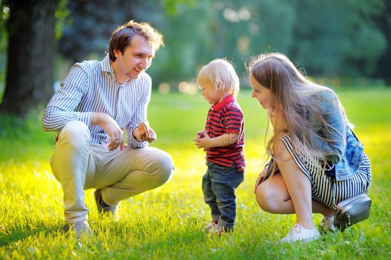 Szczęśliwa młoda rodzina trzy w pogodnym parku obraz royalty free
