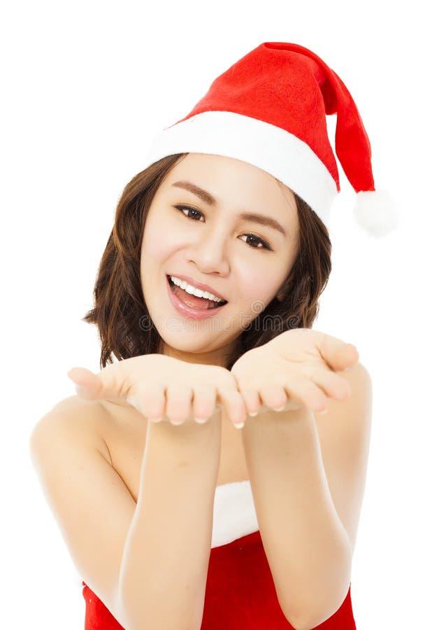 Szczęśliwa młodej kobiety ostrość na ona ręki Odizolowywający na bielu zdjęcie royalty free