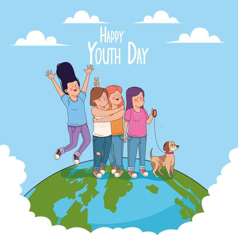 Szczęśliwa młodość dnia karta z nastolatek kreskówkami ilustracji