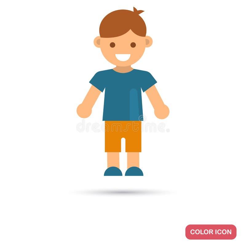 Szczęśliwa mała chłopiec koloru ikona w płaskim projekcie ilustracja wektor