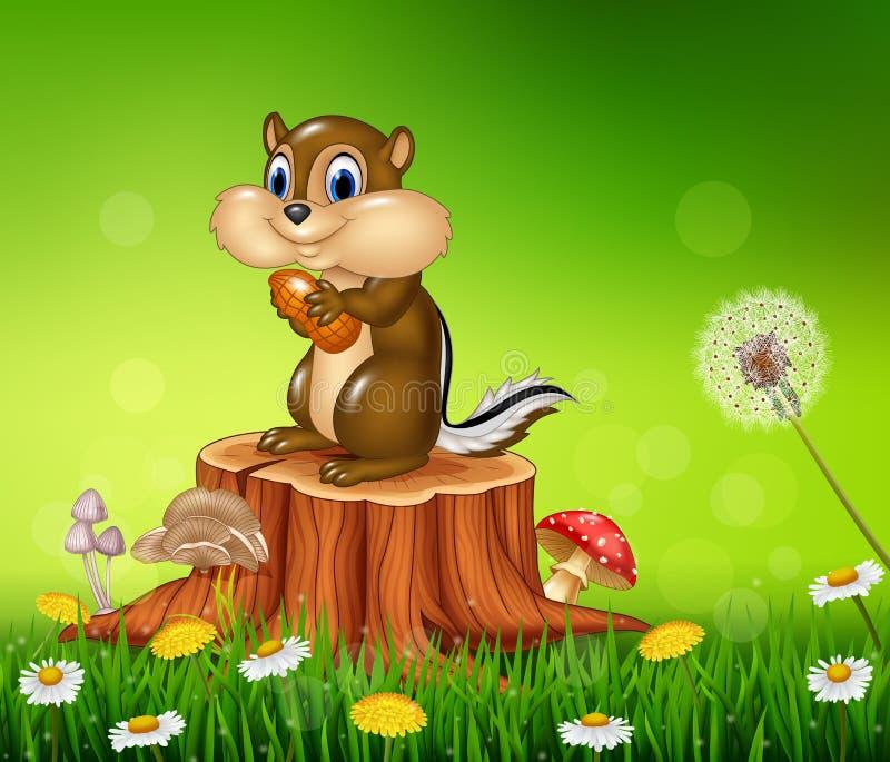 Szczęśliwa mała chipmunk mienia dokrętka na Pięknym trawy tle ilustracja wektor