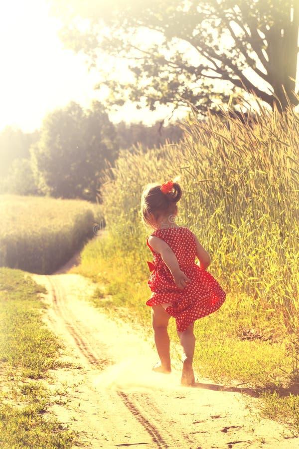 Szczęśliwa mała dziewczynka bawić się na łące, zmierzch, lato zdjęcie stock