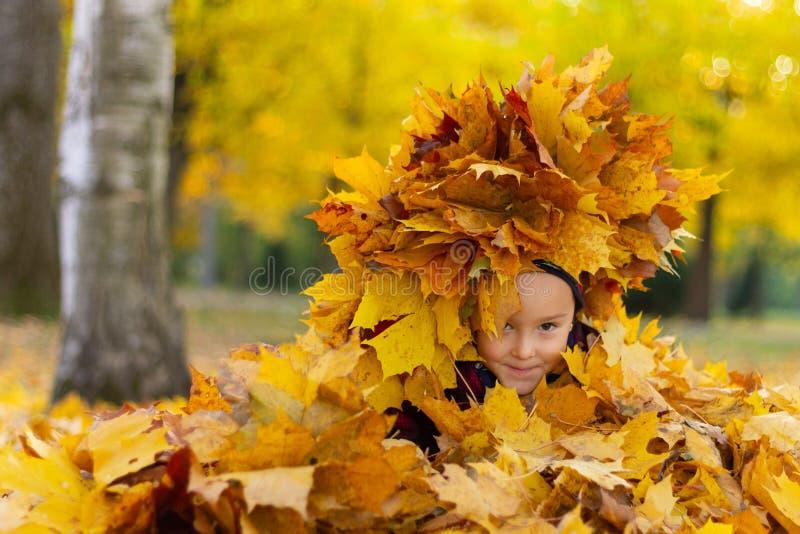 Szczęśliwa mała dziewczynka bawić się z jesień liśćmi w parku zdjęcia royalty free