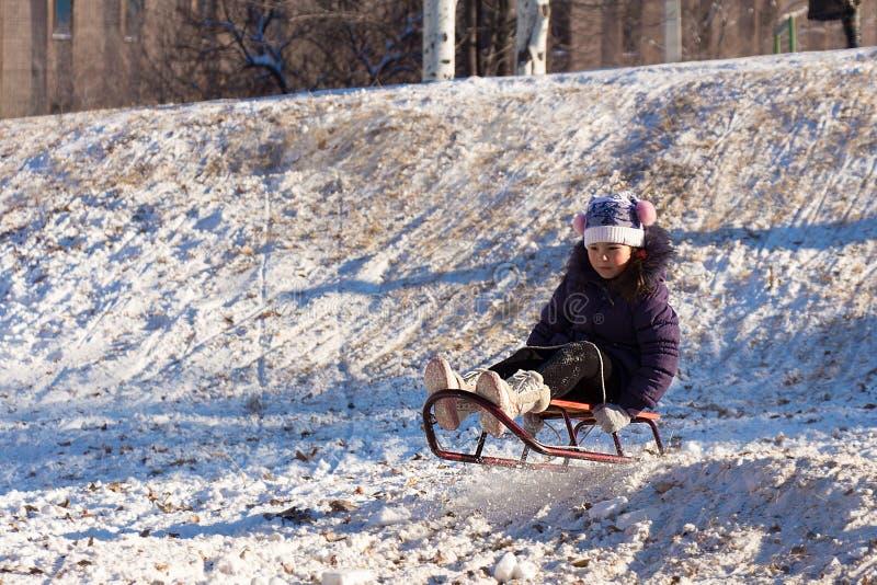 Szczęśliwa mała dziewczynka sledding na białym śnieżnym śniegu od wzgórza zdjęcie royalty free