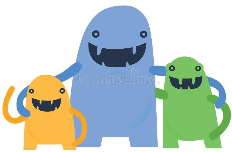 Szczęśliwa Mała potwór rodzina royalty ilustracja