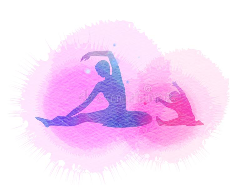 Szczęśliwa mama i dziecko ćwiczymy sylwetkę na akwareli tle ilustracji