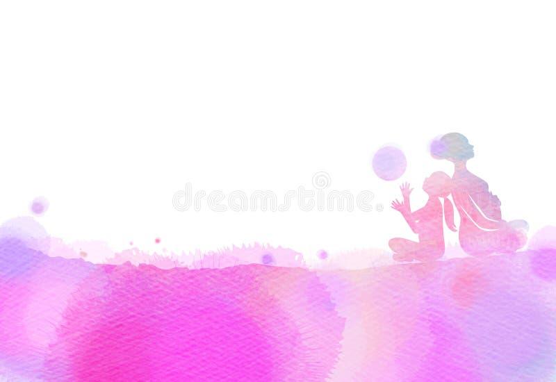Szczęśliwa mama i dziecko ćwiczymy sylwetkę na akwareli tle ilustracja wektor