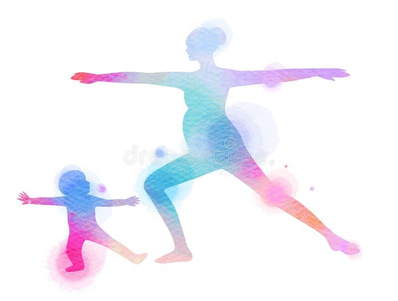 Szczęśliwa mama i dziecko ćwiczymy sylwetkę na akwareli tle royalty ilustracja