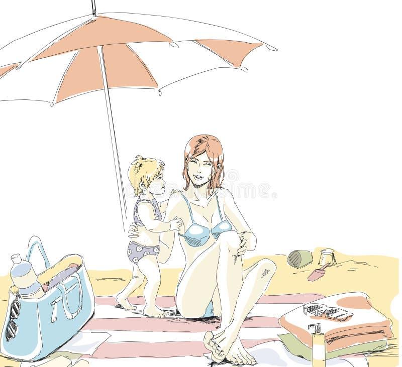 Szczęśliwa mama i dziecko siedzimy na piasek plaży na wakacje ilustracja wektor