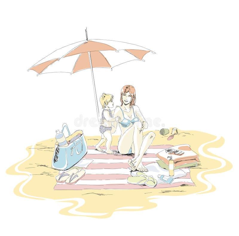 Szczęśliwa mama i dziecko siedzimy na piasek plaży na wakacje ilustracji