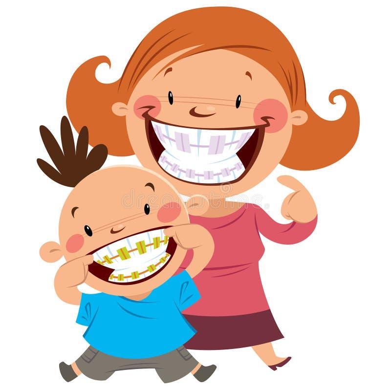 Szczęśliwa mama i syn z brasami ilustracji