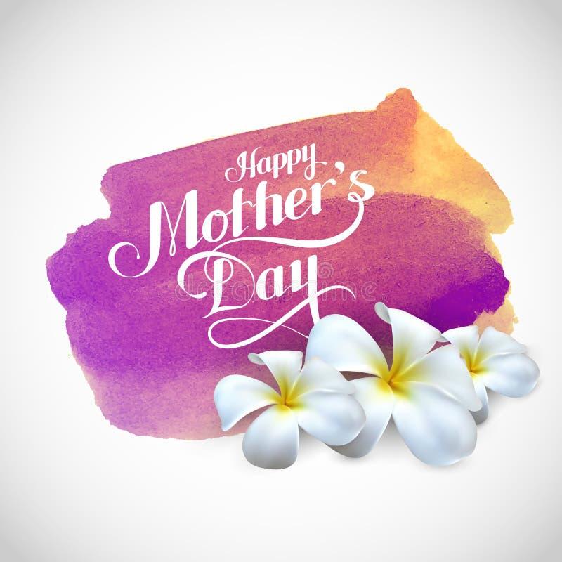 Szczęśliwa matka dnia etykietka z frangipani kwitnie na watercolo ilustracji