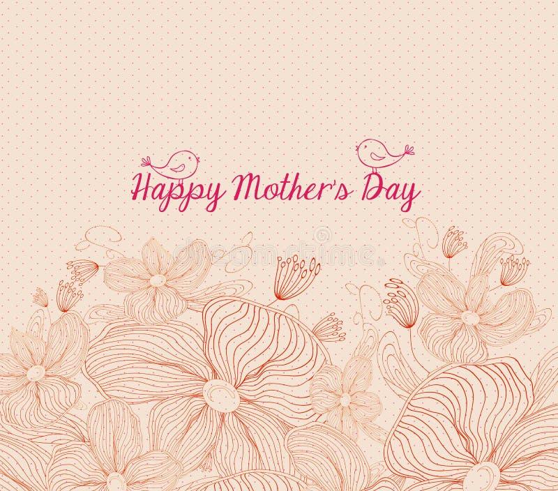 Szczęśliwa matka dnia jaskrawa wiosna z ptakami i kwiatami retro ilustracja wektor