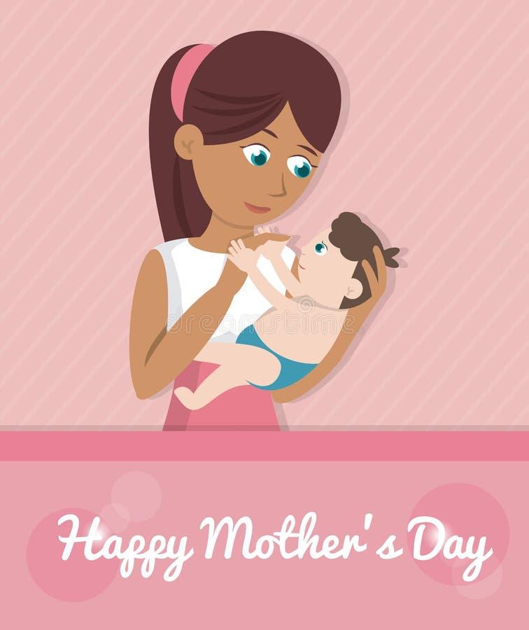 Szczęśliwa matka dnia karta - mama niesie dziecka royalty ilustracja