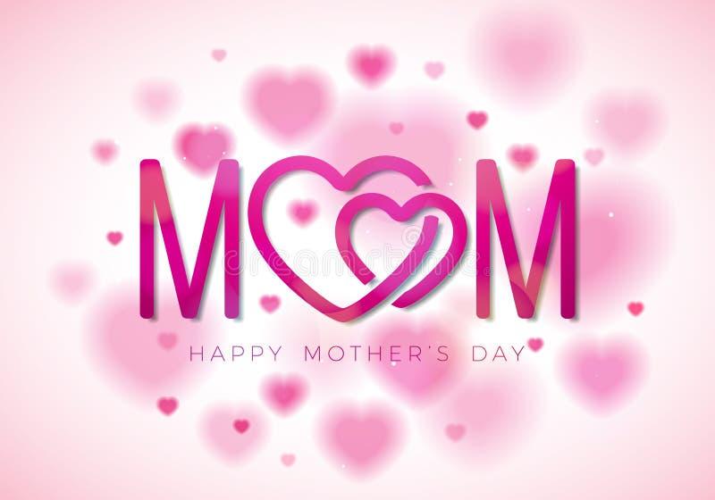 Szczęśliwa matka dnia kartka z pozdrowieniami ilustracja z mama typograficznym projektem i hearth symbol na białym tle wektor royalty ilustracja