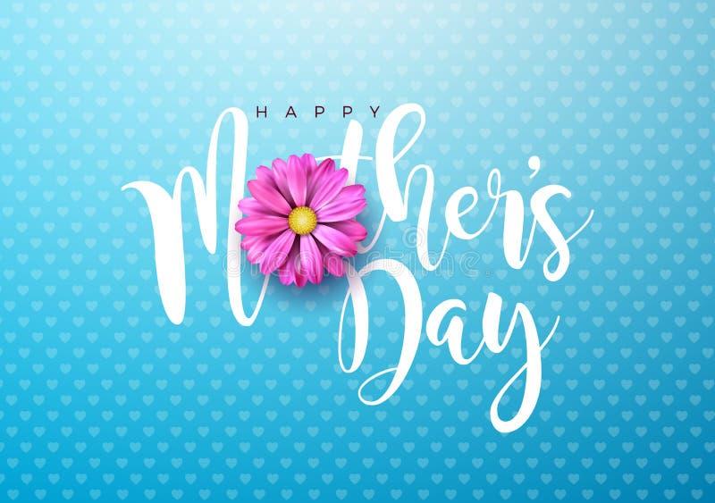Szczęśliwa matka dnia kartka z pozdrowieniami ilustracja z menchiami kwitnie i typograficzny projekt na błękitnym tle wektor ilustracji