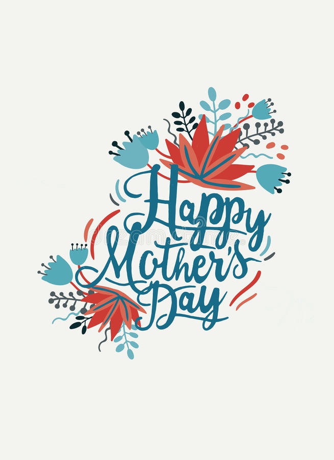 Szczęśliwa matka dnia pocztówka Karta z ręka rysującymi kwiatami i literowaniem ilustracja wektor