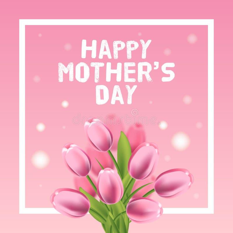 Szczęśliwa matka dnia wektoru karty ilustracja z różowym tulipanem ilustracja wektor