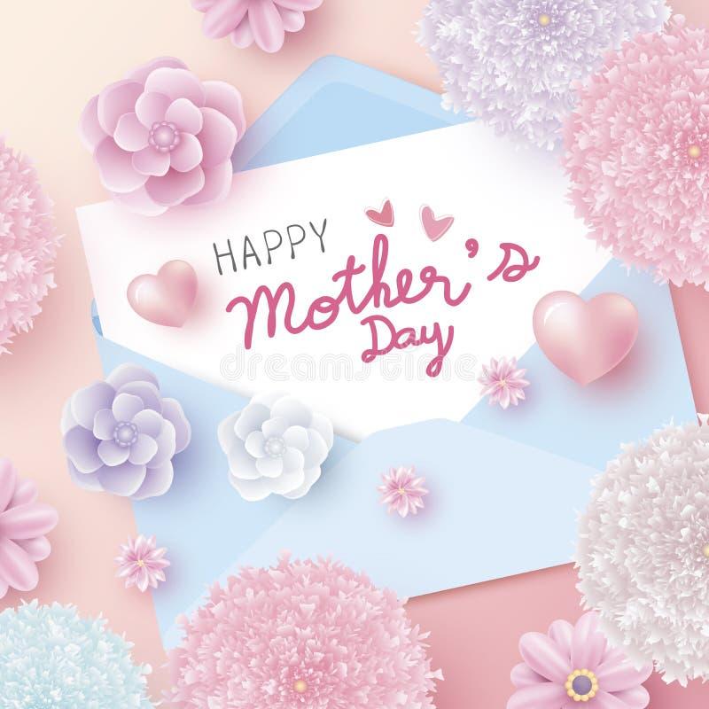 Szczęśliwa matka dnia wiadomość na białym papierze w kopercie i kwiatach royalty ilustracja