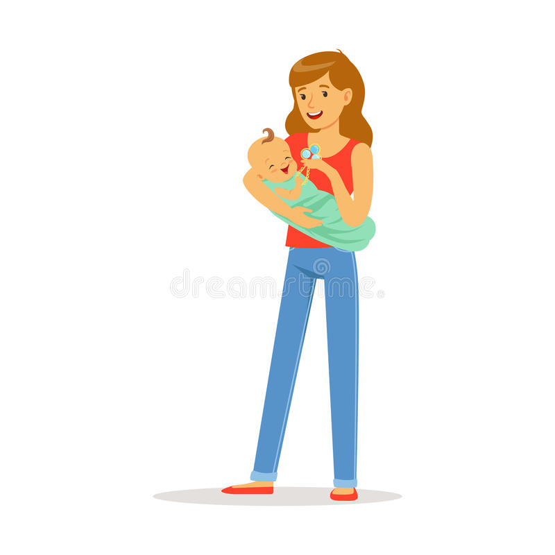 Szczęśliwa matka i jej uroczy dziecko bawić się z brzęk kolorową wektorową ilustracją ilustracji