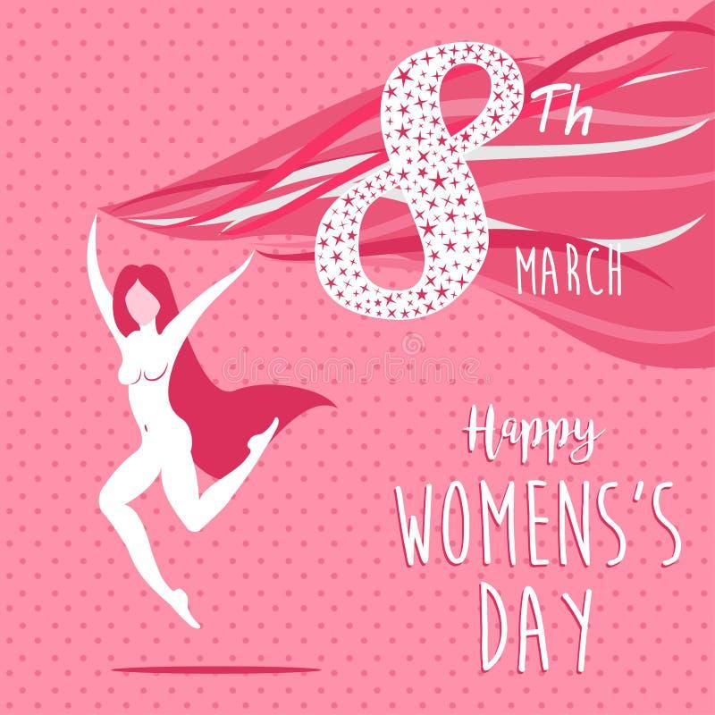 Szczęśliwa międzynarodowa kobiety ` s dnia świętowania dziewczyna royalty ilustracja