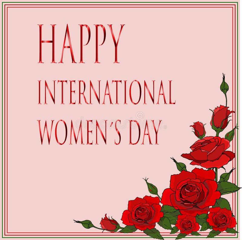 Szczęśliwa międzynarodowa womendnia karta z czerwonymi różami royalty ilustracja