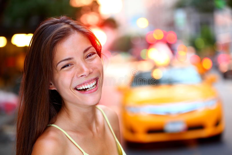 Szczęśliwa Miasto Nowy Jork dziewczyna obrazy stock