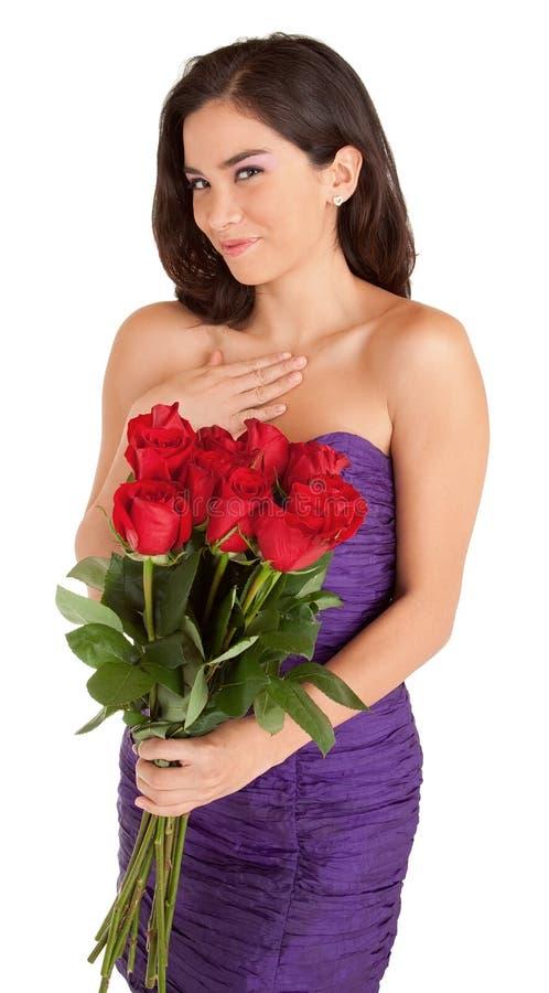 szczęśliwa mienia róż kobieta fotografia stock