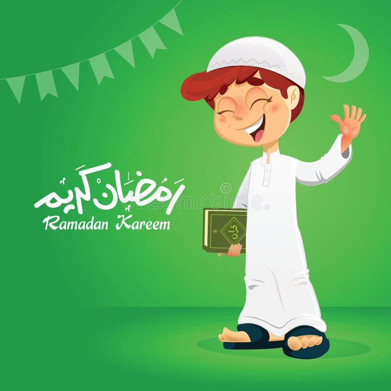 Szczęśliwa Muzułmańska chłopiec mienia koranu książka ilustracji