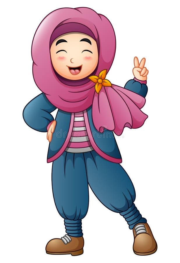 Szczęśliwa Muzułmańska dziewczyna daje dwa palcowi ilustracja wektor